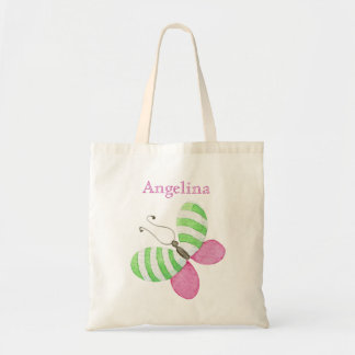 Pink Green Butterfly with Name Tote Bag