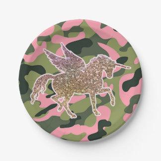 Pink Green Camo Camouflage & Gold Glitter Unicorn Paper Plate