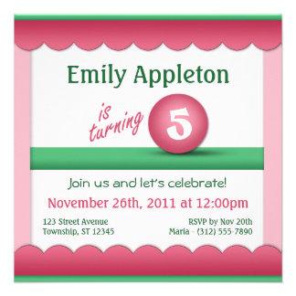 Pink Green Childrens Birthday Ball Invitations