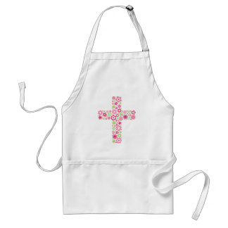 Pink green christian floral flower cross apron