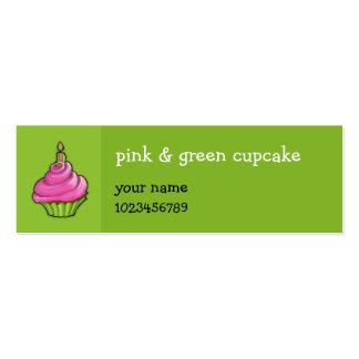 Pink & Green Cupcake green small Mini Business Card