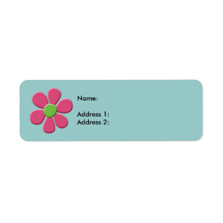 Pink Green Daisy Return Address Label