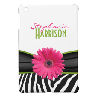 Pink Green Daisy Zebra Print Personalized iPad Mini Cases
