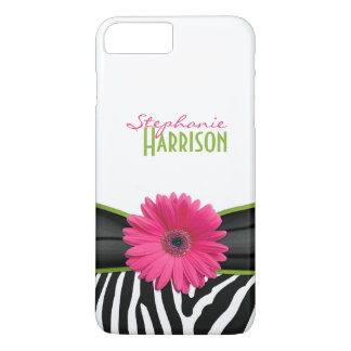 Pink Green Daisy Zebra Print Personalized iPhone 8 Plus/7 Plus Case
