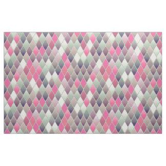 pink green diamond pastel print fabric
