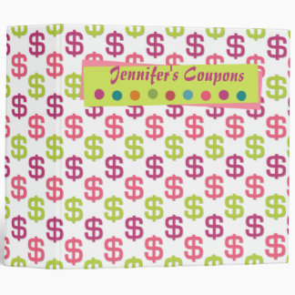 """Pink green dollar signs 2"""" coupon organizer binder"""