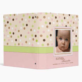Pink + Green Dot Baby Girl Photo Album 3 Ring Binders
