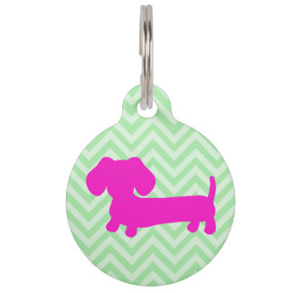 Pink & Green Doxie Wiener Dog ID Tag
