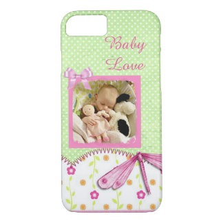 Pink & Green Dragonfly Vintage Baby Photo Case
