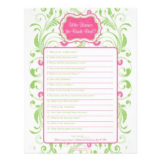 Pink Green Floral Bride Best Bridal Shower Game Personalized Letterhead