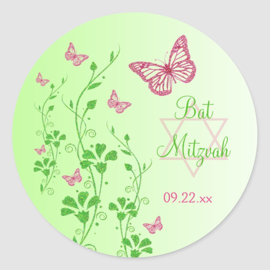 Pink, Green Floral Butterflies Bat Mitzvah Sticker