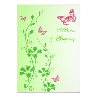 Pink, Green Floral Butterflies Wedding Invitation