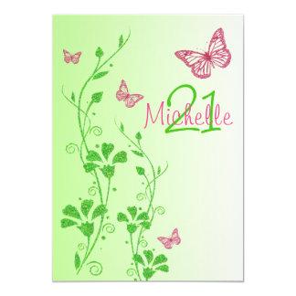 Pink, Green Floral Buttterflies 21st Birthday Card