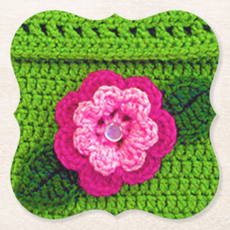 Pink Green Floral Crochet Print Reusable Bracket Paper Coaster