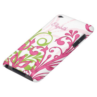 Pink Green Floral Custom Name iPod Touch Case