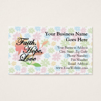Pink/Green Floral Faith Hope Love Business Card