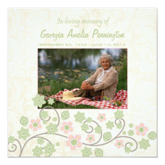 """Pink green floral in memoriam photo flat card 5.25"""" square invitation card"""