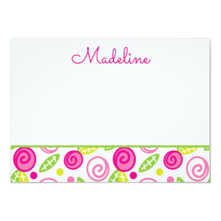 Pink & Green Floral Personalized Flat Note cards