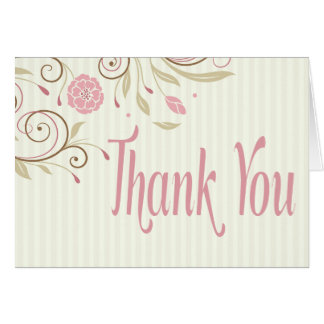 Pink Green Floral Stripe Thank You Note Card