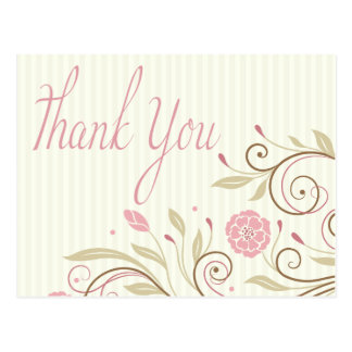 Pink Green Floral Stripe Thank You Post Card