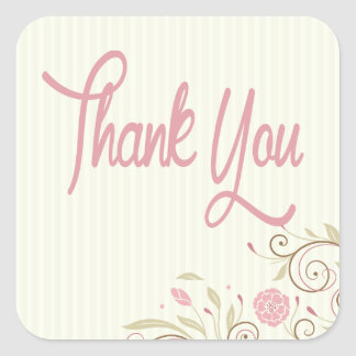 Pink Green Floral Stripe Thank You Sticker Seal