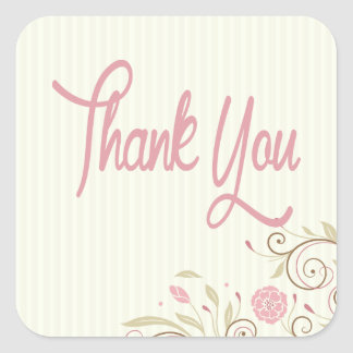 Pink & Green Floral Stripe Thank You Sticker/Seal Square Sticker