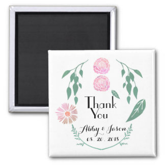 Pink Green Floral Wedding Favor Thank You Square Magnet