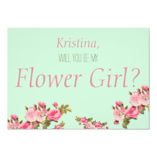 Pink Green Floral Will You Be My Flower Girl Card