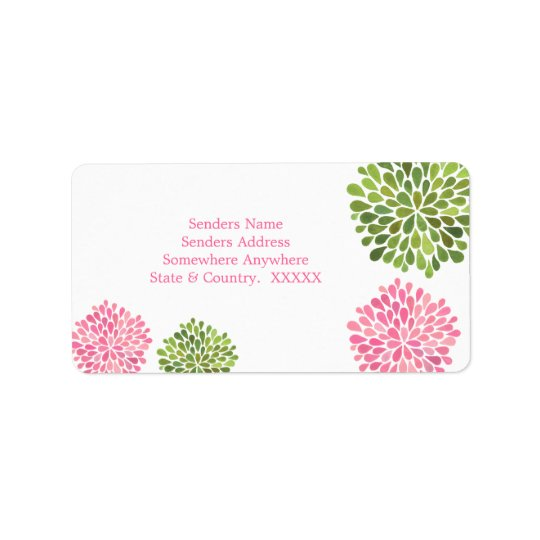 Pink & Green Flower Petal Blooms Address Labels