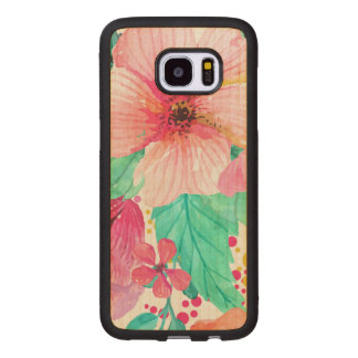 Pink & Green Flowers Closeup Wood Samsung Galaxy S7 Edge Case