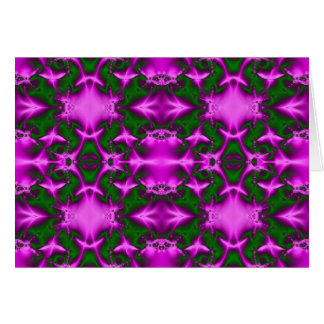 pink green fractal greeting card
