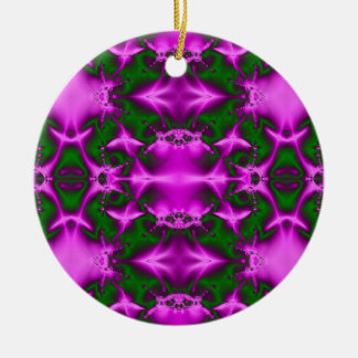 pink green fractal Double-Sided ceramic round christmas ornament