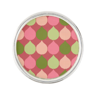 Pink Green Geometric Ikat Teardrop Circles Pattern Lapel Pin