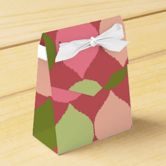 Pink Green Geometric Ikat Teardrop Circles Pattern Party Favor Boxes