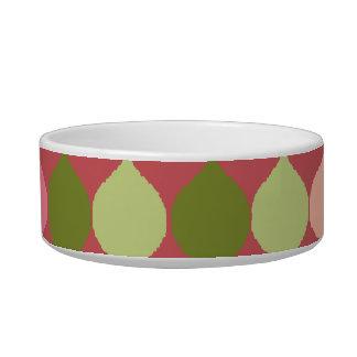 Pink Green Geometric Ikat Teardrop Circles Pattern Pet Food Bowl