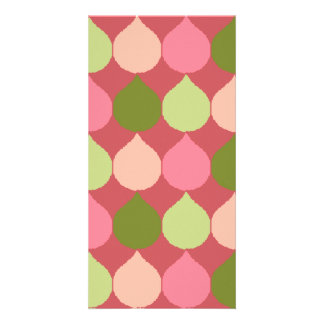 Pink Green Geometric Ikat Teardrop Circles Pattern Photo Greeting Card