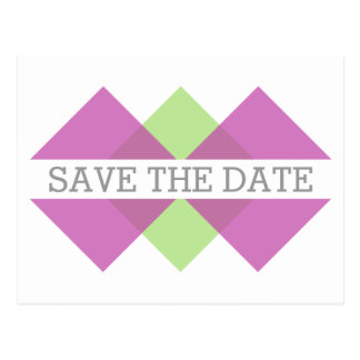 Pink Green Geometric Triad Save the Date Postcard