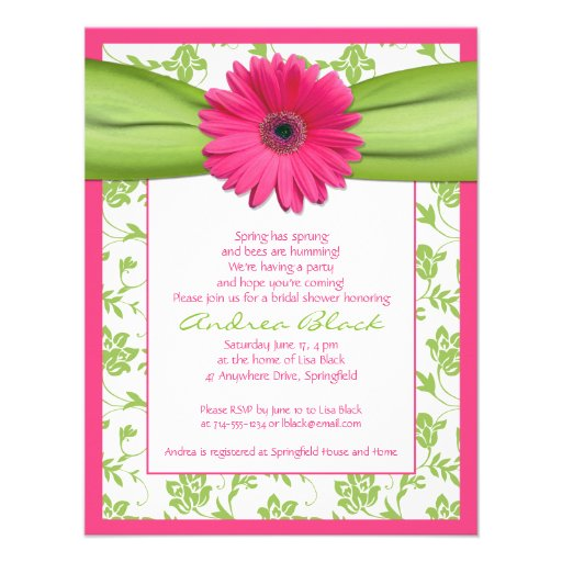 Pink Green Gerbera Daisy Bridal Shower Invitation