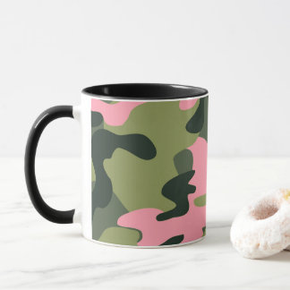 Pink & Green Girly Camo Camouflage Pattern Mug