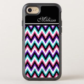 Pink Green Glitter Black White Chevrons Stripe OtterBox Symmetry iPhone 8/7 Case