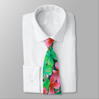 Pink Green Hawaiian Plumeria Big Flowers Tie