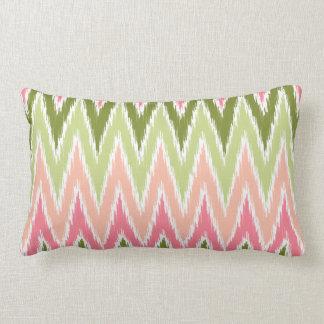 Pink Green Ikat Chevron Zig Zag Stripes Pattern Lumbar Pillow