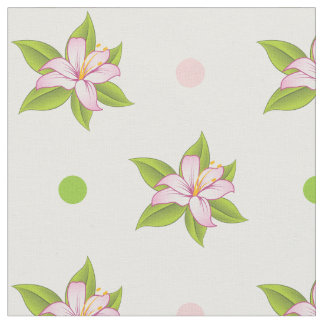 Pink & green lily and polka dots cute floral fabric