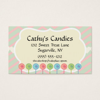 Pink Green Lollipop Candy Shop Baker Confectioner Business Card