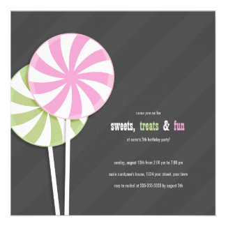 Pink & Green Lollipops Party Invitations