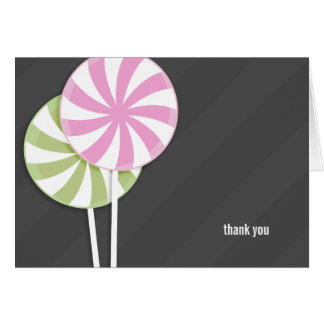 Pink & Green Lollipops Thank You Note Card
