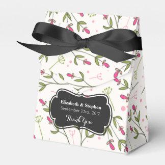 Pink & Green Long Stem Wildflower Wedding Thanks Favor Box