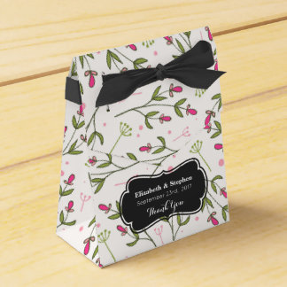 Pink & Green Long Stem Wildflower Wedding Thanks Favor Boxes