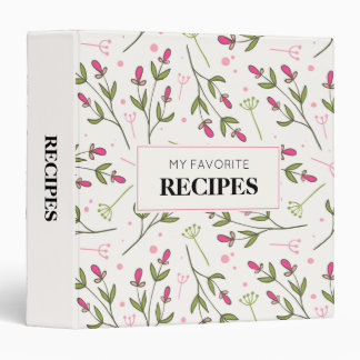 Pink & Green Long Stem Wildflowers Pattern Recipe Binders