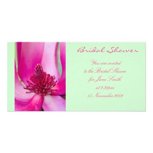 Pink & Green Magnolia - Bridal Shower Invitation Photo Card Template